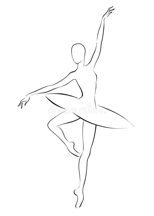 Desenho Preto E Branco De Um Salto Da Bailarina Ilustracao Stock