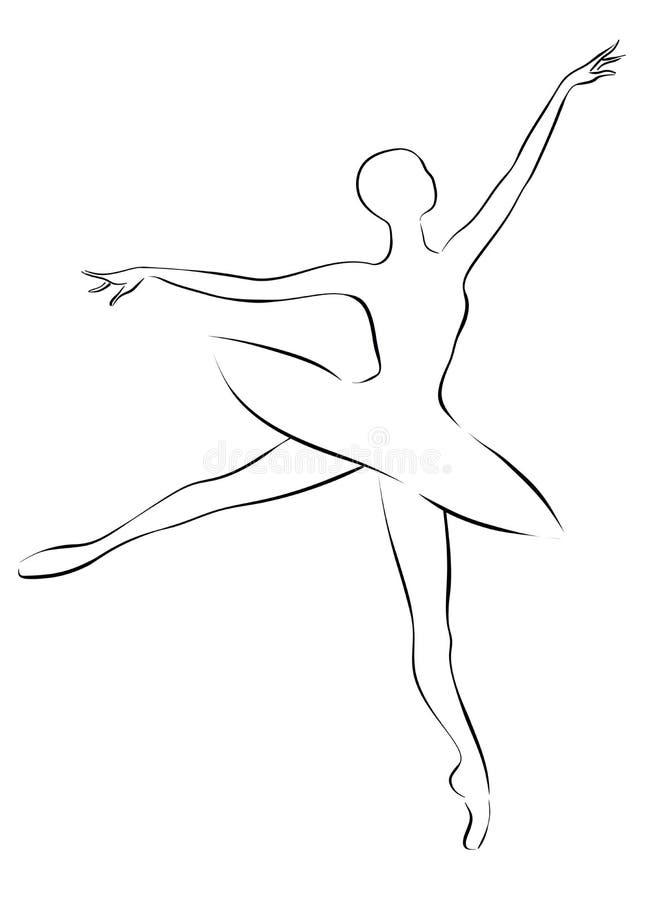 Bailarina Desenho De Esboco Preto E Branco Ilustracao Stock