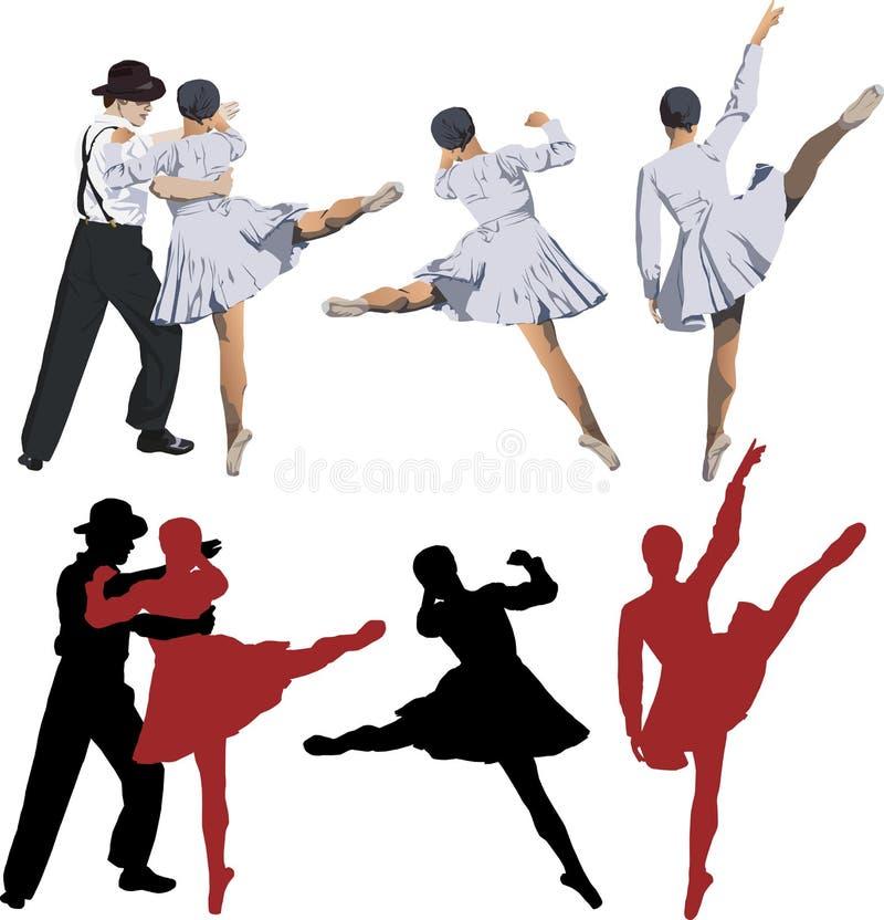 Bailarina e dançarino de bailado ilustração stock