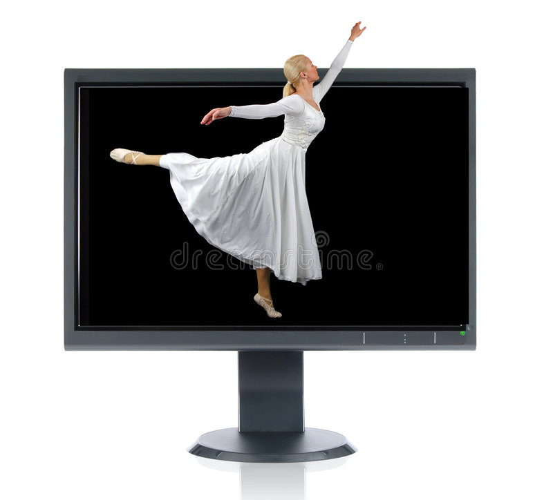 Bailarina e monitor imagem de stock