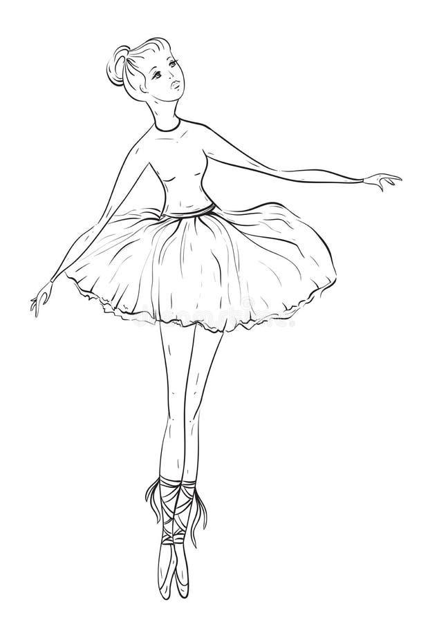 Bailarina Ejemplo dibujado mano blanco y negro del vector del vintage libre illustration