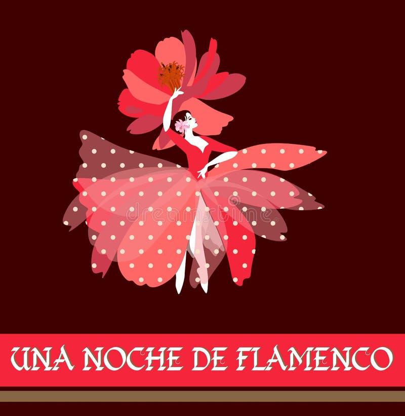 Bailarina espanhola no vestido vermelho com às bolinhas brancos e no chapéu na forma da flor, dança popular tradicional de dança ilustração stock