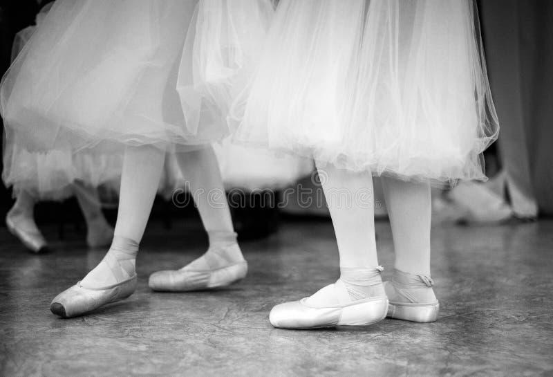 A bailarina está treinando no salão de dança foto de stock royalty free
