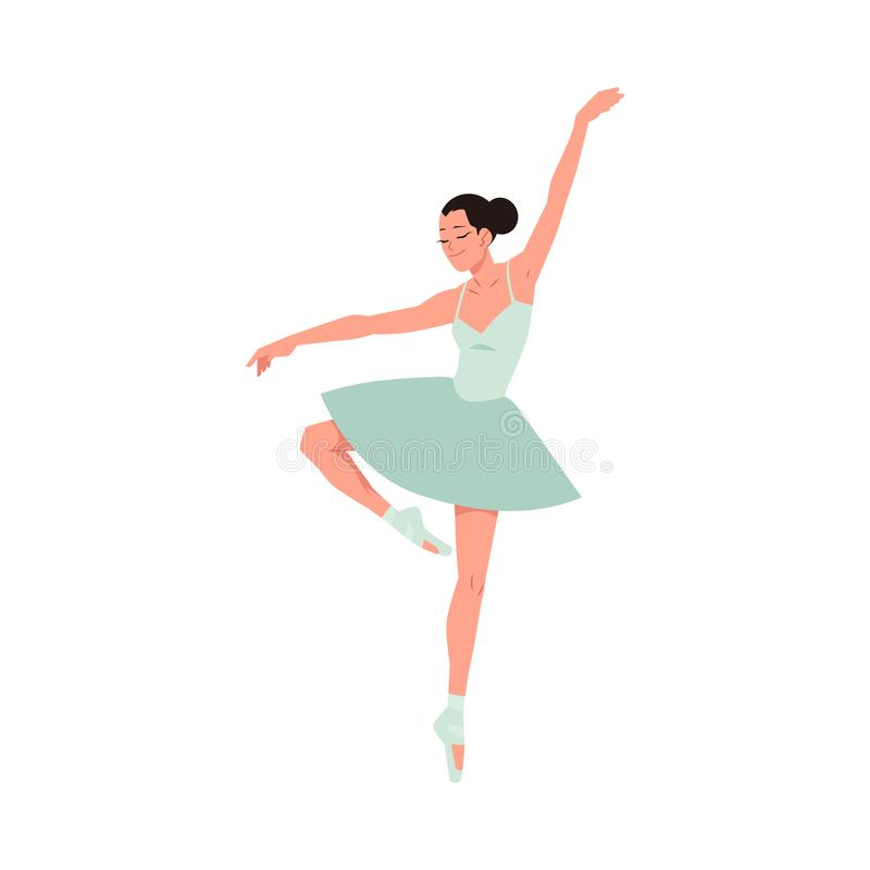 Bailarina joven en tutú y el baile de los zapatos del pointe aislada en el fondo blanco ilustración del vector