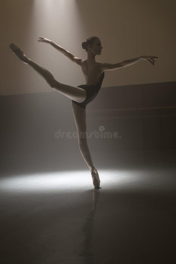 Bailarina na malha preta fotos de stock royalty free