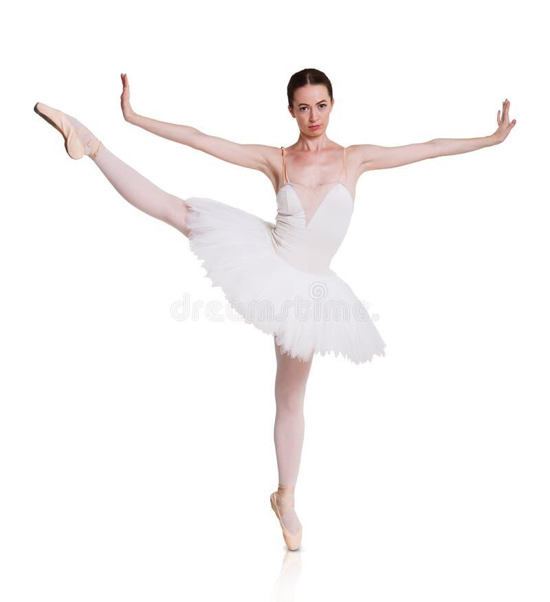Bailarina na saia do tutu isolada no branco imagens de stock