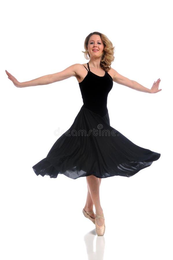Bailarina no vestido preto imagens de stock royalty free