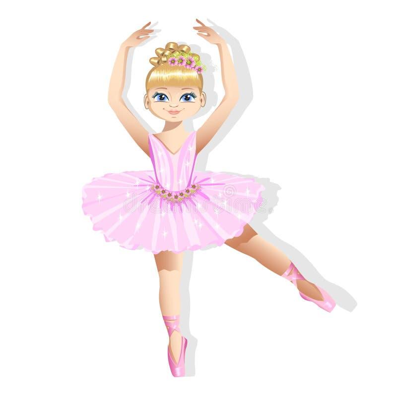 Bailarina pequena doce em um vestido brilhante ilustração royalty free
