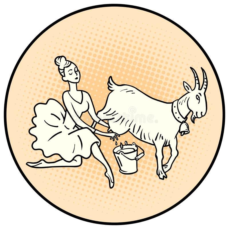 Bailarina que ordenha uma cabra Animais de explora??o agr?cola ilustração do vetor