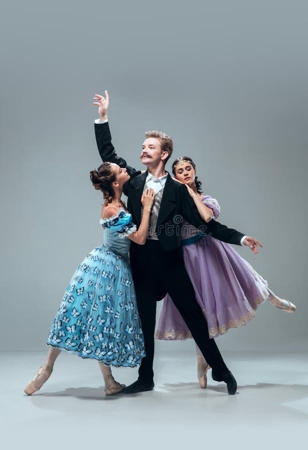 Bailarines contemporáneos del salón de baile en fondo gris del estudio imágenes de archivo libres de regalías