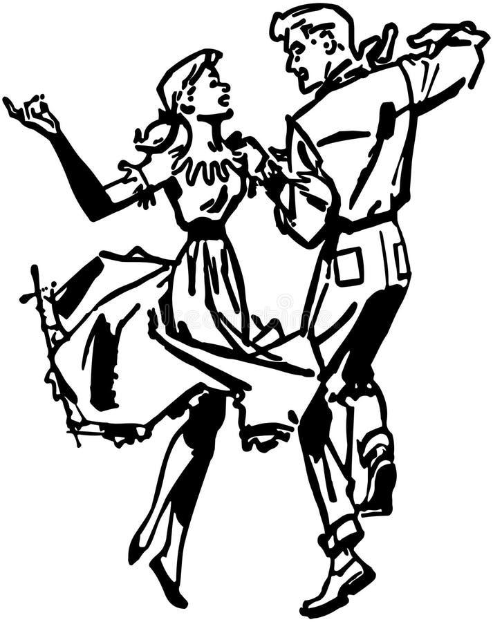 Bailarines cuadrados stock de ilustración