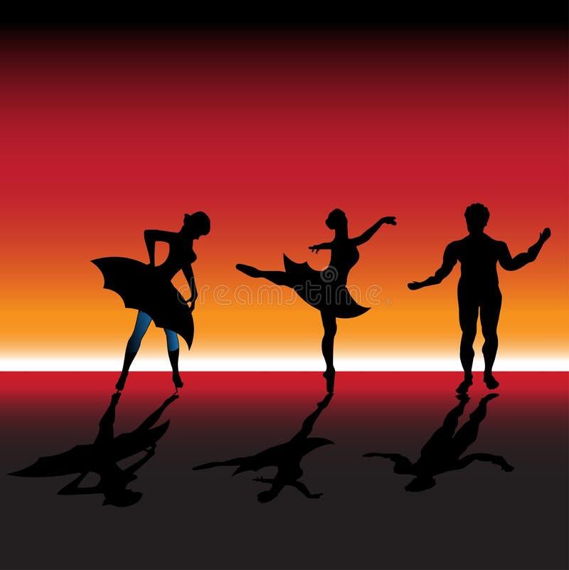 Bailarines de ballet stock de ilustración