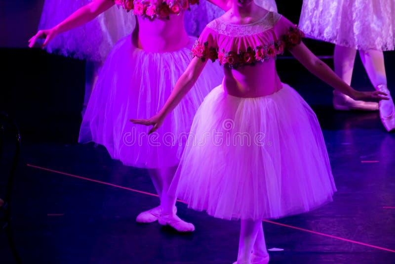 Bailarines de ballet bajo luz púrpura con los vestidos clásicos que realizan un ballet en fondo de la falta de definición fotografía de archivo libre de regalías