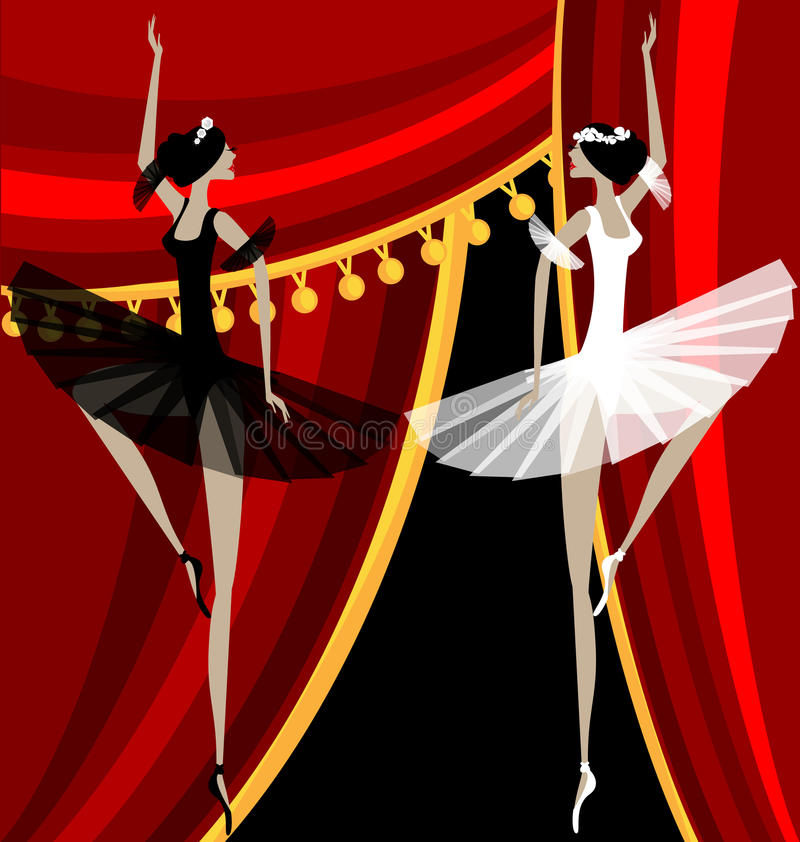 bailarines de ballet blancos y negros ilustración del vector