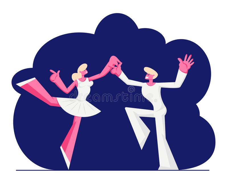 Bailarines de ballet en la ropa blanca que baila en etapa Mujer en los zapatos y la falda del tutú, artista Prepare de Pointe par libre illustration