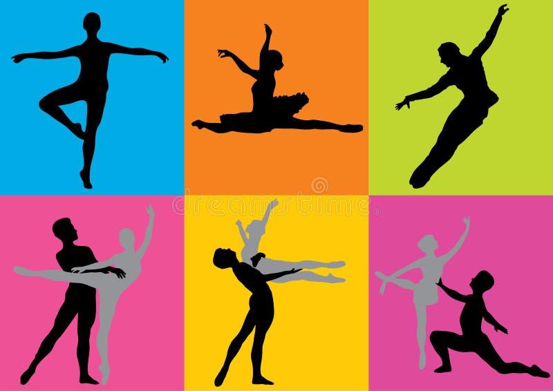 Bailarines de la silueta (vector) stock de ilustración