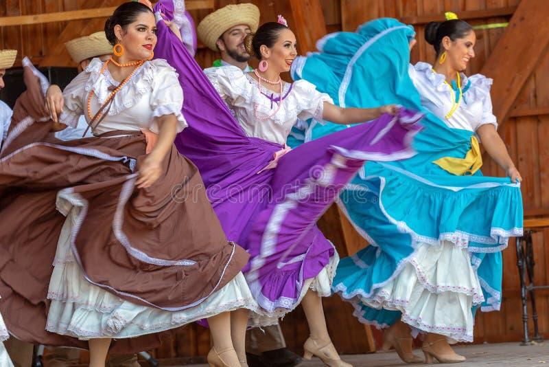 Bailarines de Puerto Rico en traje tradicional imagen de archivo