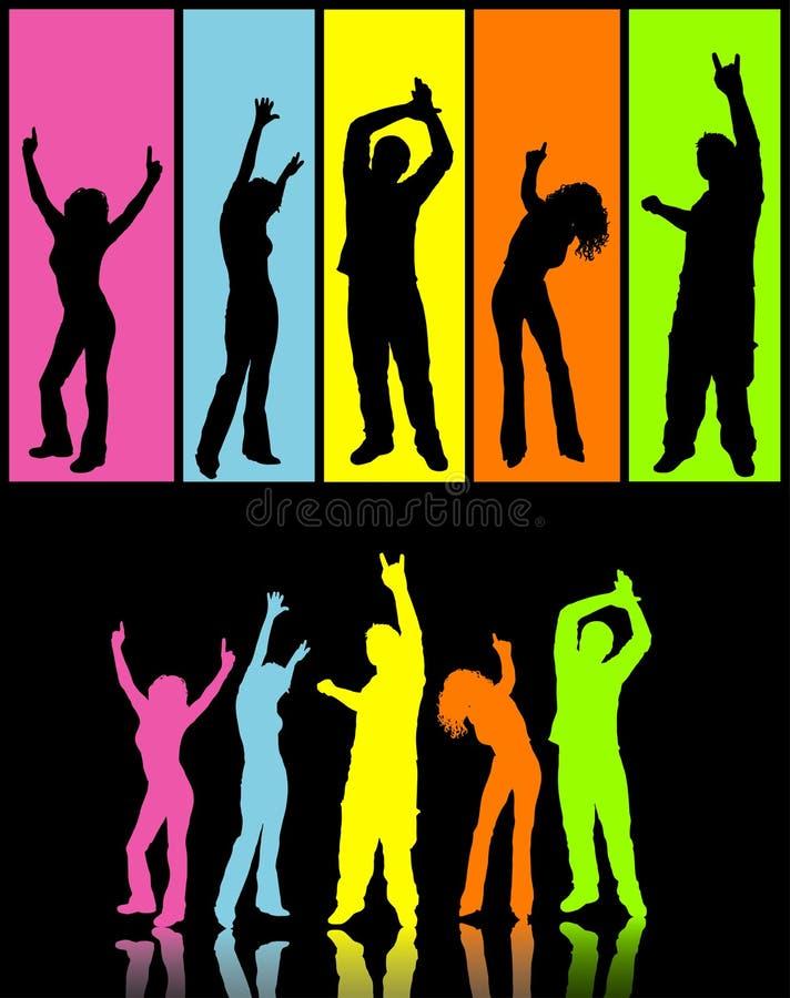Bailarines del disco stock de ilustración