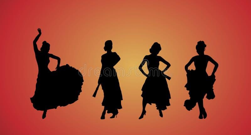 Bailarines del flamenco stock de ilustración
