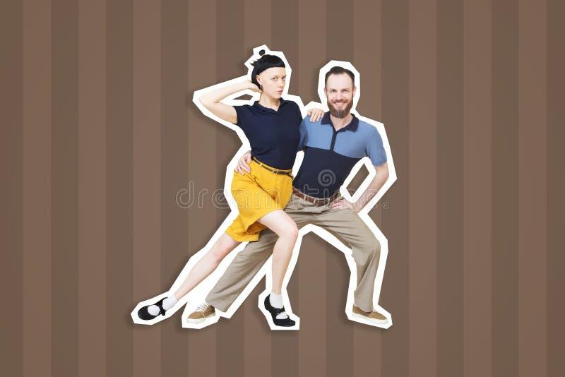 Bailarines del woogie de la boogie de la danza del salto de Lindy o del rollo del ` del ` n de la roca fotos de archivo libres de regalías