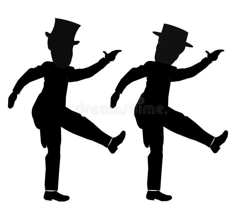 Bailarines en la sincronización stock de ilustración