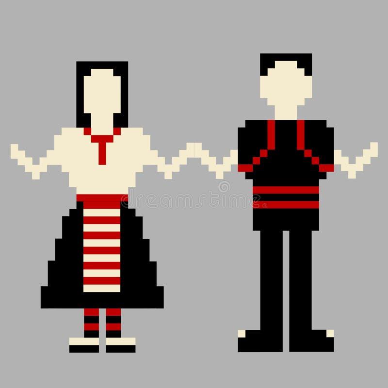 Bailarines hombre y mujer con el traje nacional libre illustration