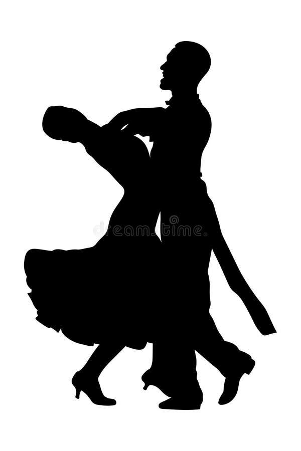 Bailarines hombre y mujer de los pares stock de ilustración