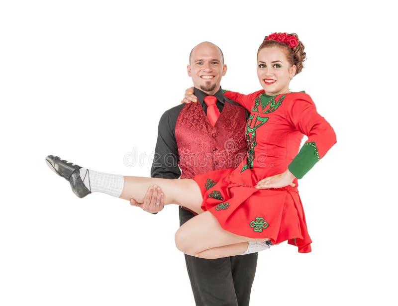 Bailarines irlandeses de los pares hermosos aislados fotografía de archivo libre de regalías