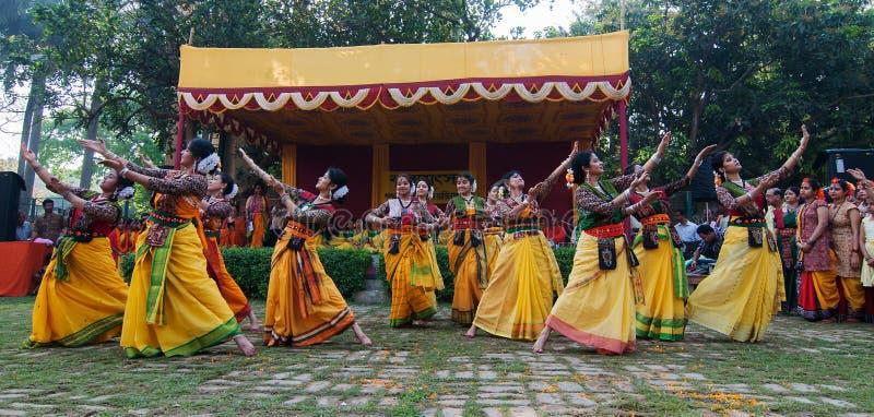 Bailarines que se realizan en la celebración de Holi, la India de las mujeres imagen de archivo