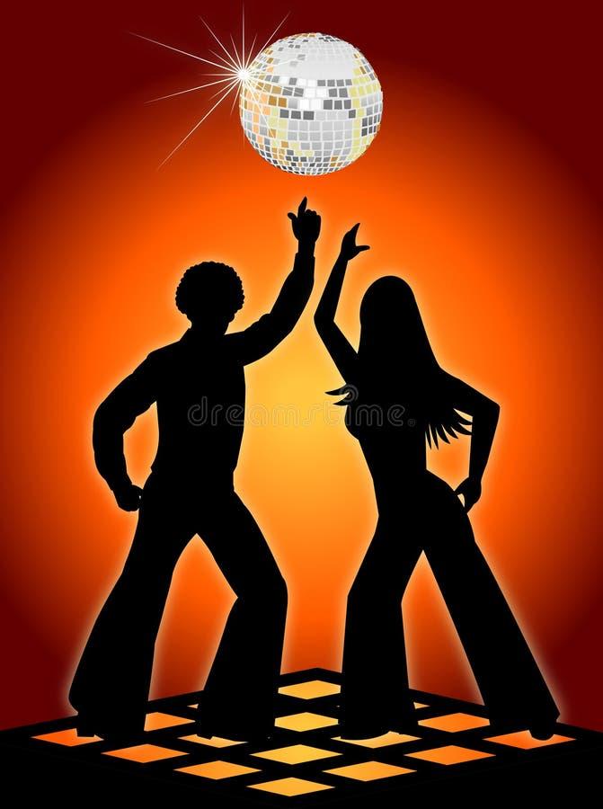 Bailarines retros del disco anaranjados stock de ilustración