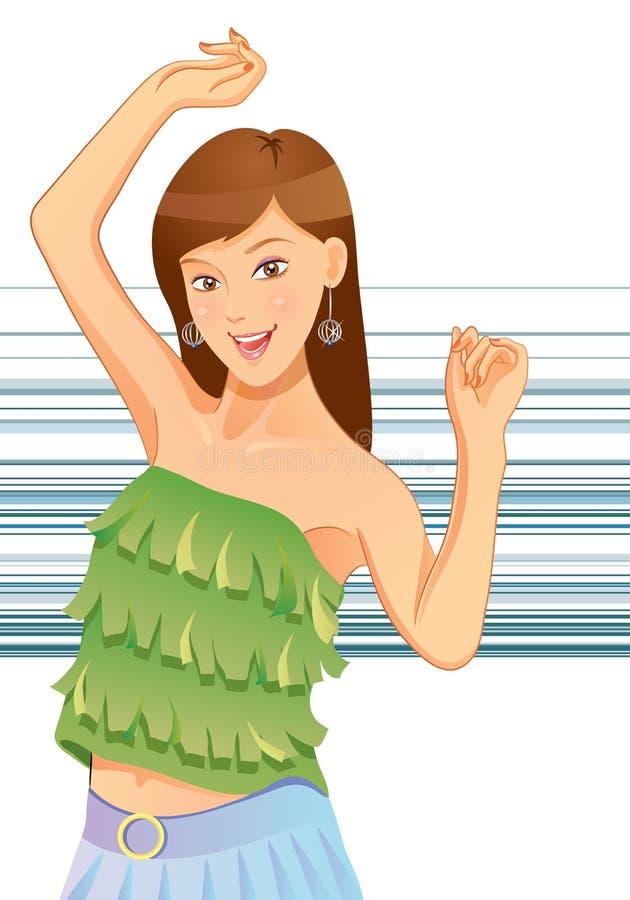 Baile bonito de la muchacha stock de ilustración