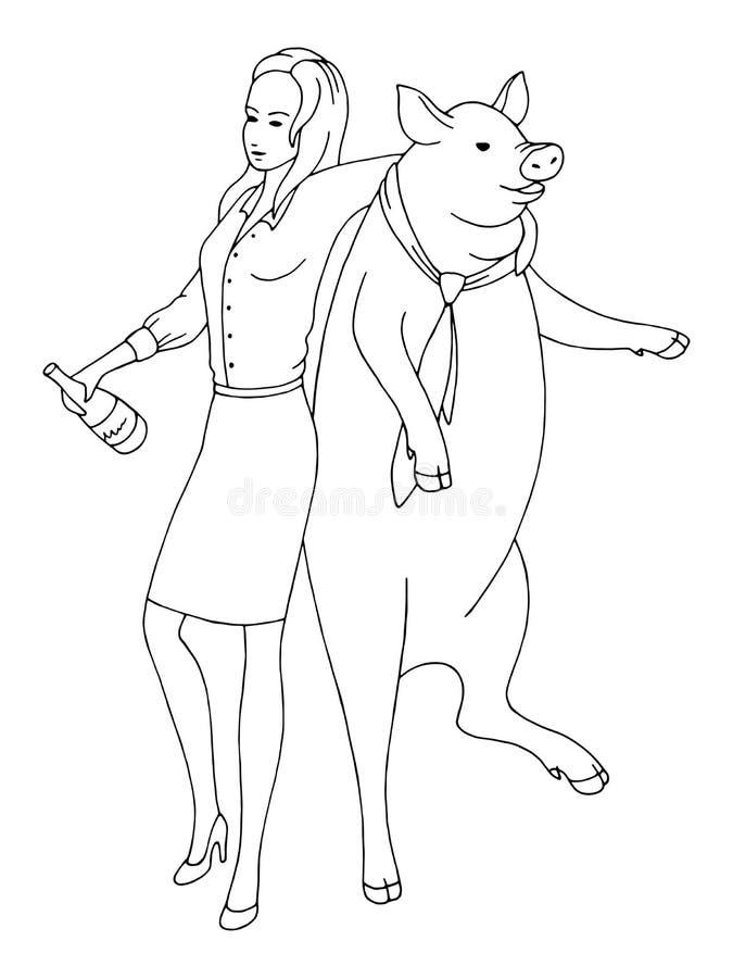 Baile borracho de la mujer con un cerdo y celebración de vector blanco negro gráfico del ejemplo del bosquejo del Año Nuevo ilustración del vector
