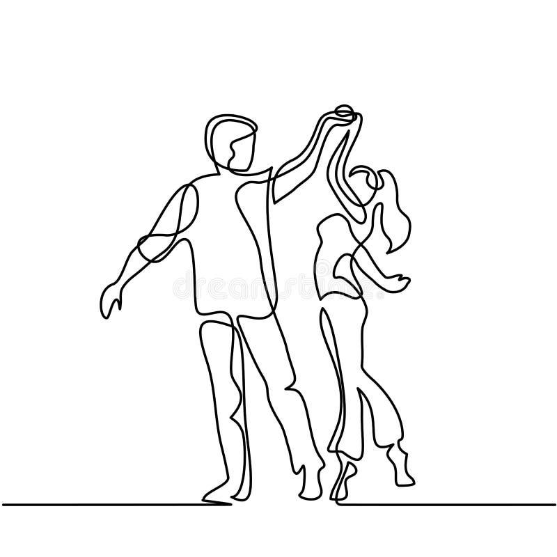 Baile cariñoso feliz de los pares stock de ilustración