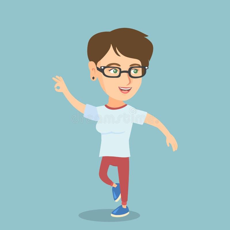 Baile caucásico alegre joven de la mujer ilustración del vector