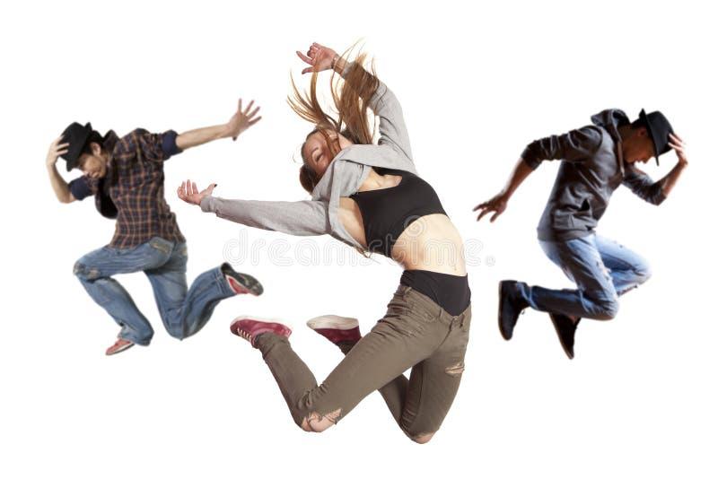 Baile de baile moderno de la práctica del grupo imágenes de archivo libres de regalías