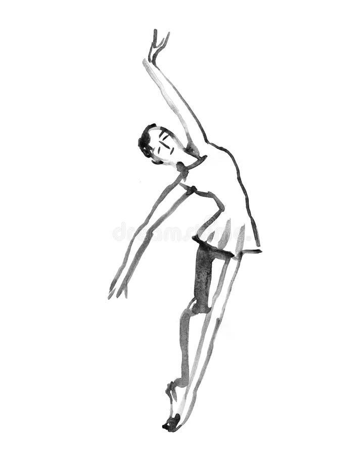 Baile de la bailarina Ejemplo de la acuarela en el fondo blanco stock de ilustración