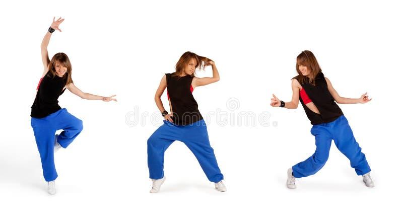 Baile de la chica joven aislado foto de archivo
