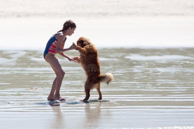 Baile de la chica joven con un perro imagenes de archivo