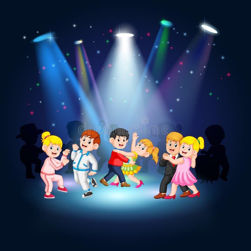 Baile de la gente en la etapa stock de ilustración