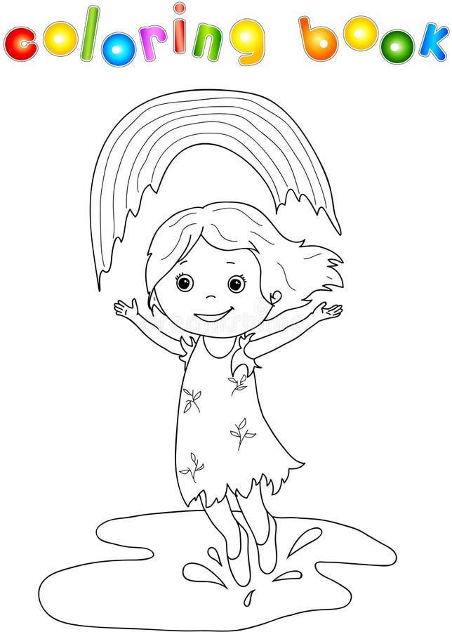 Baile de la muchacha en la lluvia con el arco iris ilustración del vector