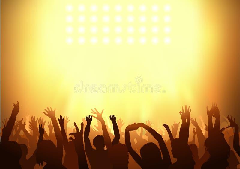 Baile de la muchedumbre en un partido stock de ilustración