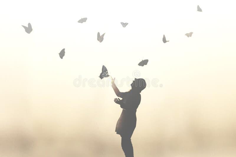 Baile de la mujer con las mariposas que acogen con satisfacción la primavera imagen de archivo