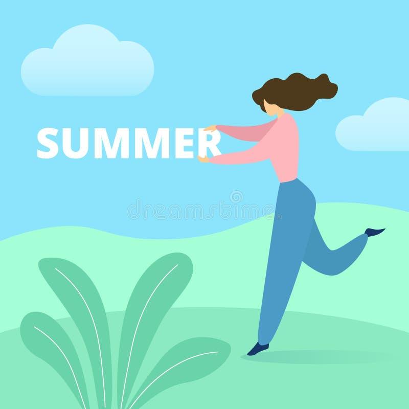 Baile de la mujer en verano verde de la palabra de la tenencia del campo ilustración del vector