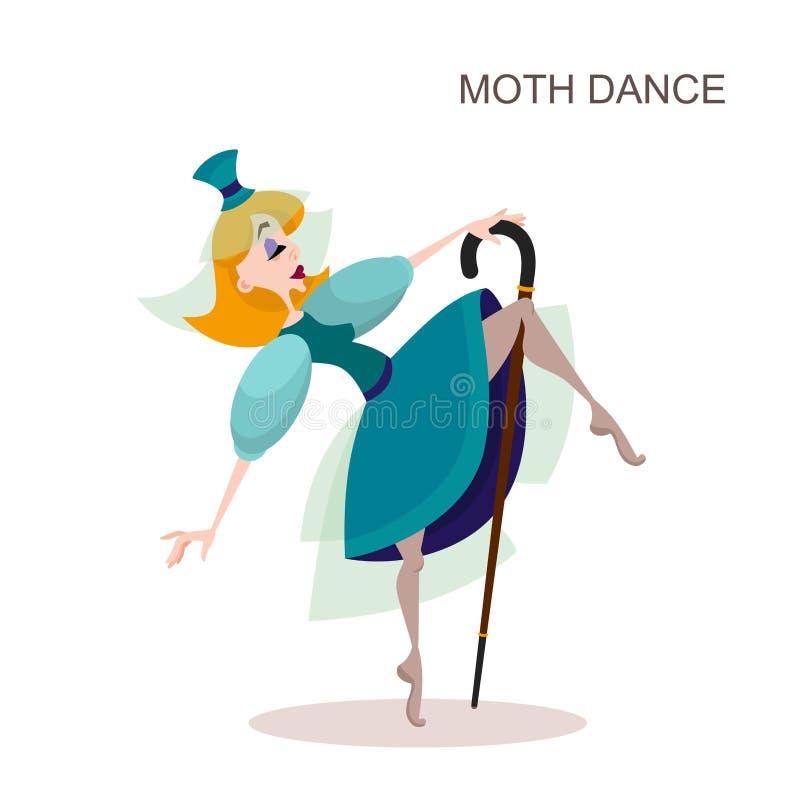 Baile de la mujer joven con el bastón stock de ilustración