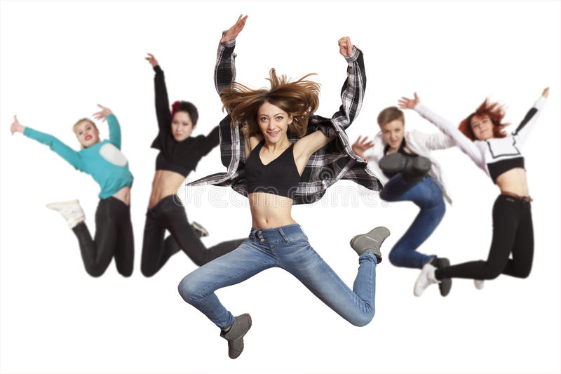 Baile de la práctica del grupo de la mujer aislado en blanco foto de archivo