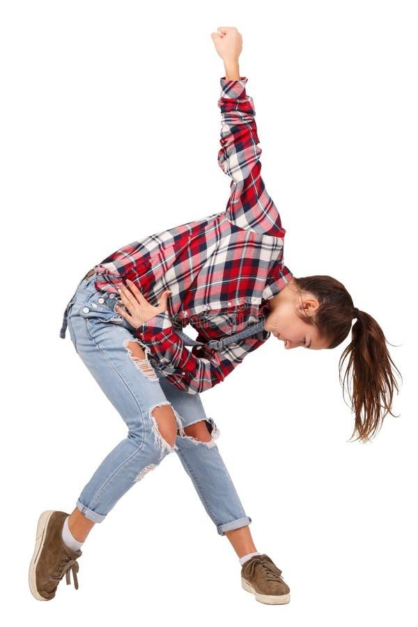 Baile de salón de baile del deporte del baile de la chica joven, en la camisa de tela escocesa, aislada en el fondo blanco imagen de archivo libre de regalías