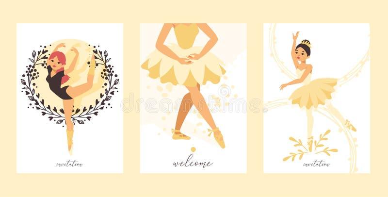 Baile del carácter de la mujer de la bailarina del vector del bailarín de ballet en el sistema del contexto del ejemplo del tutú  ilustración del vector