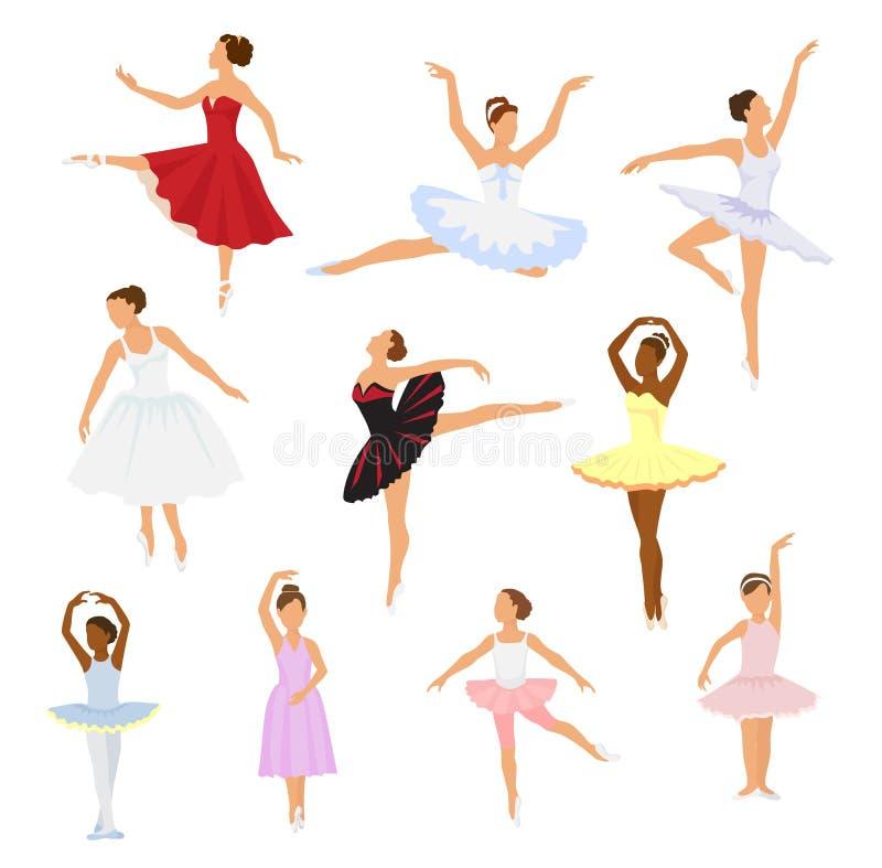 Baile del carácter de la mujer de la bailarina del vector del bailarín de ballet en sistema del ejemplo del tutú de la ballet-fal stock de ilustración