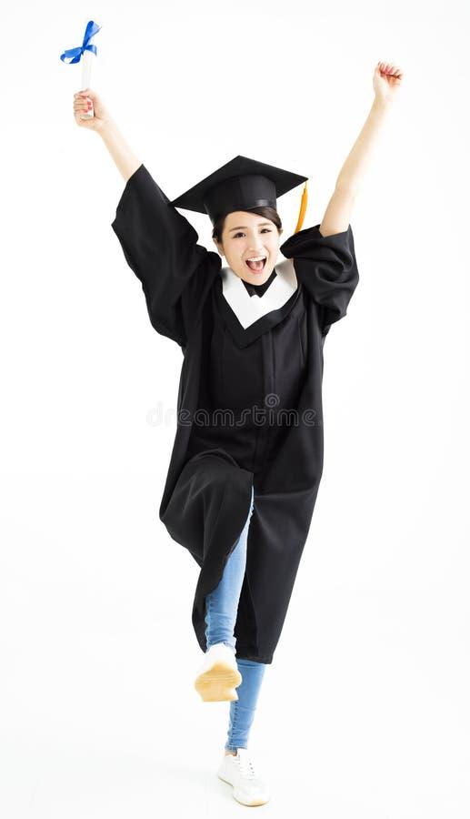 Baile del estudiante de la graduación y diploma de la demostración fotos de archivo