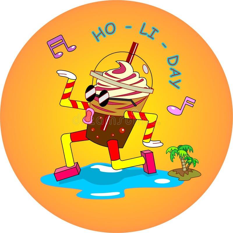 Baile del flotador del coque para las vacaciones de verano en la playa tropical ilustración del vector